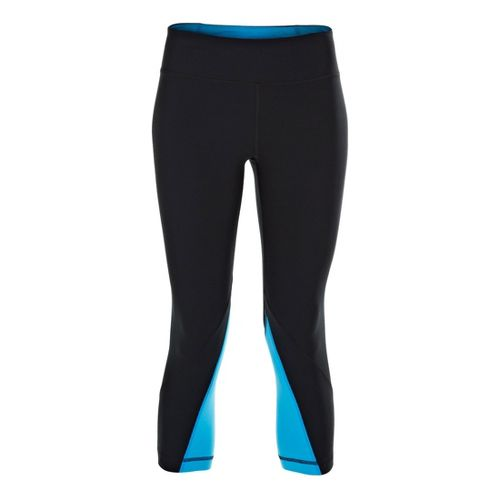 Womens Under Armour UA Perfect Rave Retro Capri Tights - Black/Electric Blue M