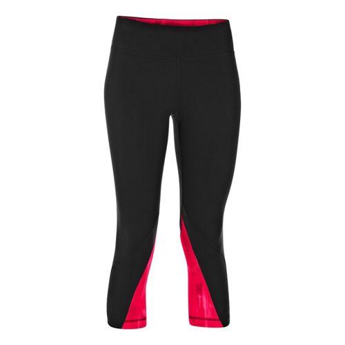 Womens Under Armour UA Perfect Rave Retro Capri Tights - Black/Neo Pulse XL