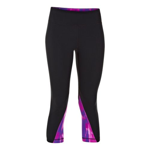 Womens Under Armour UA Perfect Rave Retro Capri Tights - Black/Pride M