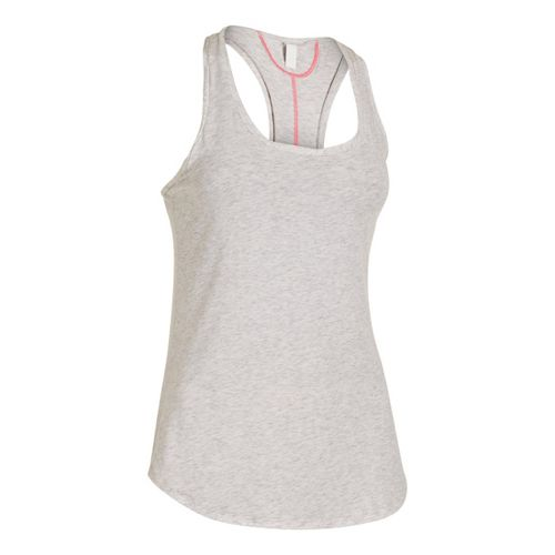 Womens Under Armour UA Studio Cross-Town Tanks Technical Tops - Silver Heather L