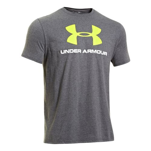 Mens Under Armour Sportstyle Logo T Short Sleeve Non-Technical Tops - Carbon Heather/High Vis ...