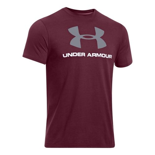 Mens Under Armour Sportstyle Logo T Short Sleeve Non-Technical Tops - Maroon/Steel L