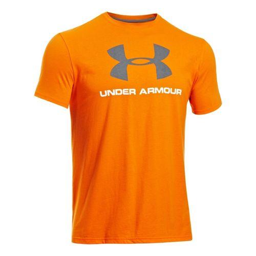 Mens Under Armour Sportstyle Logo T Short Sleeve Non-Technical Tops - Orange/Graphite L