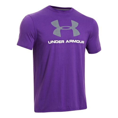 Mens Under Armour Sportstyle Logo T Short Sleeve Non-Technical Tops - Pride/Steel L