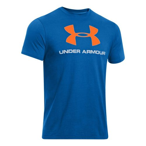 Mens Under Armour Sportstyle Logo T Short Sleeve Non-Technical Tops - Superior Blue/Blaze ...