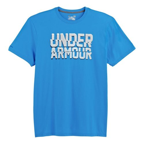 Mens Under Armour Cut Up T Short Sleeve Non-Technical Tops - Electric Blue/White M