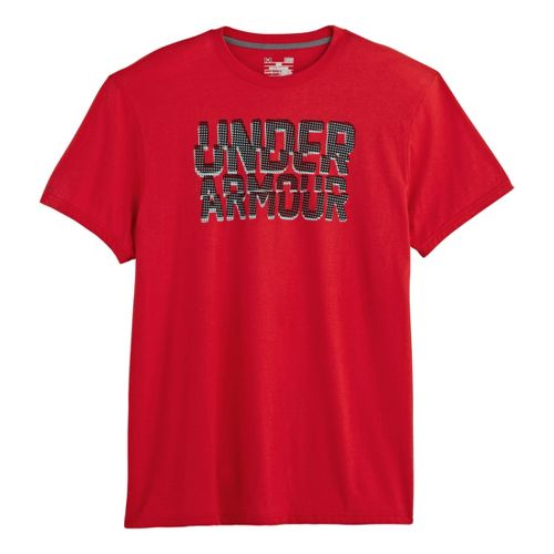 Mens Under Armour Cut Up T Short Sleeve Non-Technical Tops - Red/Black M