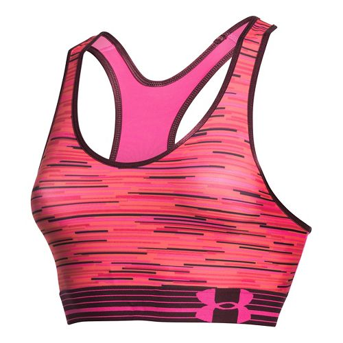 Womens Under Armour UA Mid Printed Sports Bras - Rebel Pink/Ox Blood XS