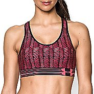 Womens Under Armour UA Mid Printed Sports Bras - Pink Shock/Afterglow S