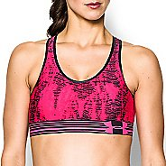 Womens Under Armour UA Mid Printed Sports Bras - Pink Shock/Black M