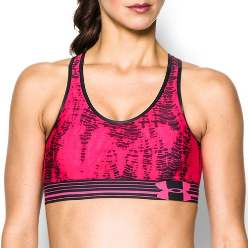 Womens Under Armour UA Mid Printed Sports Bras - Pink Shock/Black M