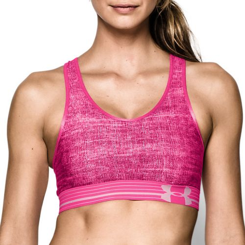 Womens Under Armour UA Mid Printed Sports Bras - Ox Blood/Pink XS