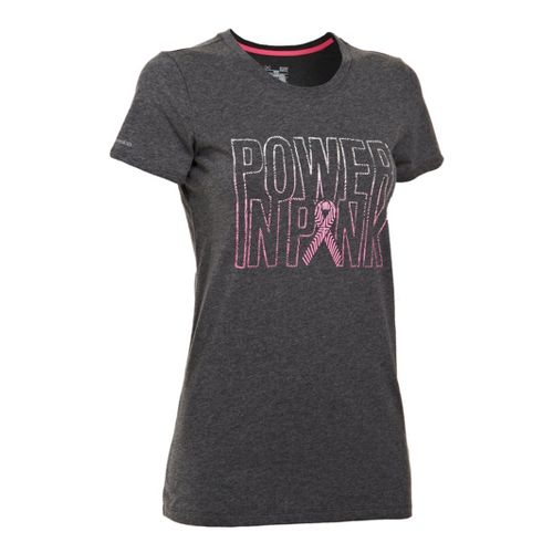 Womens Under Armour UA Charged Cotton Power In Pink Crew Short Sleeve Technical Tops - ...