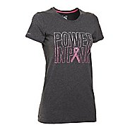 Womens Under Armour UA Charged Cotton Power In Pink Crew Short Sleeve Technical Tops