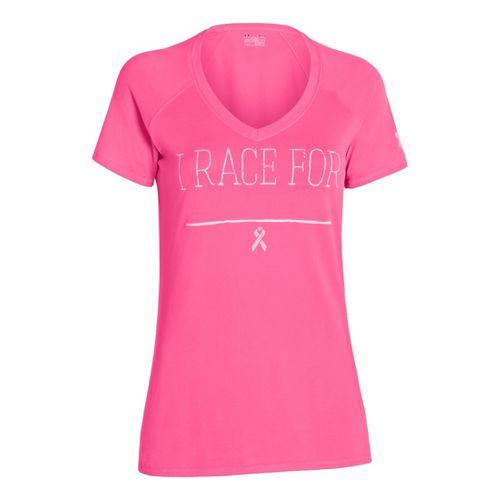 Womens Under Armour UA Pip I Race For V-Neck Short Sleeve Technical Tops - Cerise ...