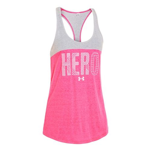 Womens Under Armour UA Pip Hero Triblend Tanks Technical Tops - Cerise M