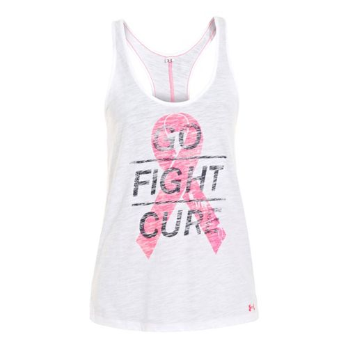 Womens Under Armour UA Pip Go Fight Cure Tanks Technical Tops - White XS