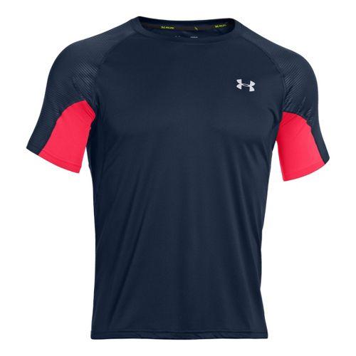 Mens Under Armour Coldblack Run Short Sleeve Technical Tops - Academy/Reflective M