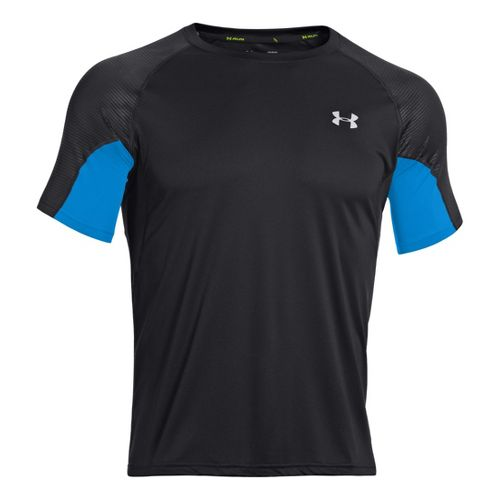 Mens Under Armour Coldblack Run Short Sleeve Technical Tops - Black/Electric Blue S