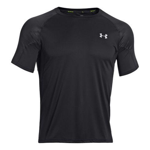 Mens Under Armour Coldblack Run Short Sleeve Technical Tops - Black/Reflective M