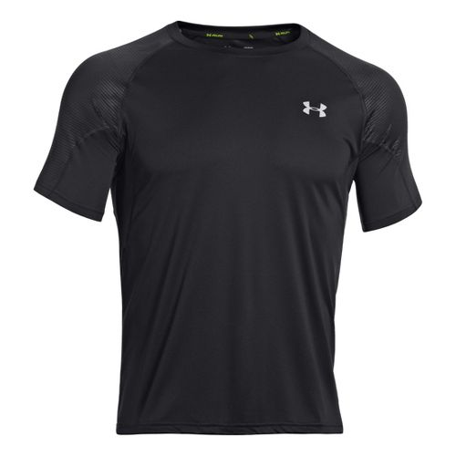Mens Under Armour Coldblack Run Short Sleeve Technical Tops - Black/Reflective XXL