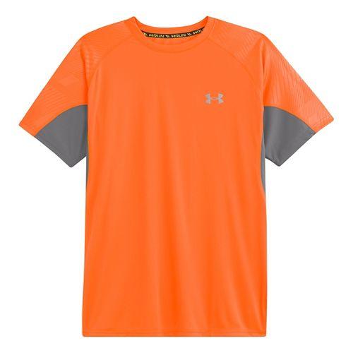 Mens Under Armour Coldblack Run Short Sleeve Technical Tops - Blaze Orange/Blaze Orange L