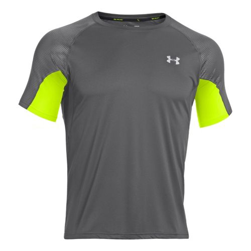 Mens Under Armour Coldblack Run Short Sleeve Technical Tops - Graphite/High Vis Yellow XXL