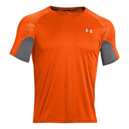 Mens Under Armour Coldblack Run Short Sleeve Technical Tops - Orange/Graphite XL