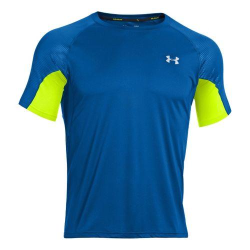 Mens Under Armour Coldblack Run Short Sleeve Technical Tops - Superior Blue/High Vis Yellow L ...