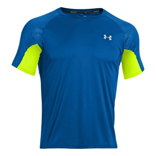 Mens Under Armour Coldblack Run Short Sleeve Technical Tops - Superior Blue/High Vis Yellow S ...