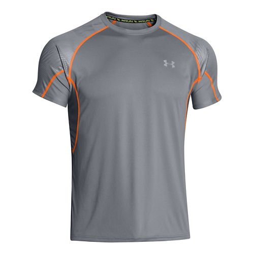 Mens Under Armour Coldblack Run Short Sleeve Technical Tops - Steel/Reflective XL