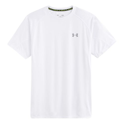 Mens Under Armour Coldblack Run Short Sleeve Technical Tops - White/Steel XL