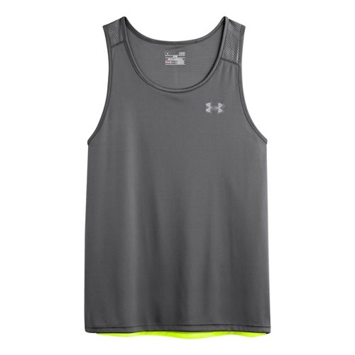 Mens Under Armour Coldblack Run Singlets Technical Tops - Graphite/High Vis Yellow XL