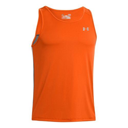 Mens Under Armour Coldblack Run Singlets Technical Tops - Orange/Graphite L