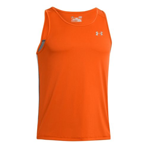 Mens Under Armour Coldblack Run Singlets Technical Tops - Orange/Graphite M