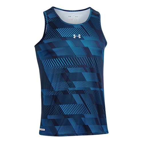 Mens Under Armour Heatgear Flyweight Run Singlets Technical Tops - Academy/Academy S