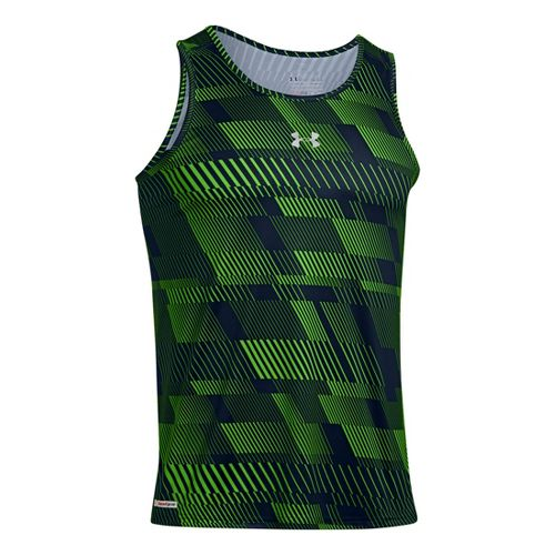 Mens Under Armour Heatgear Flyweight Run Singlets Technical Tops - Academy/Gecko Green XXL