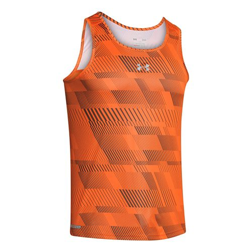 Mens Under Armour Heatgear Flyweight Run Singlets Technical Tops - Blaze Orange/Charcoal S