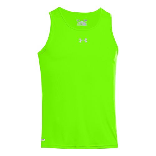 Mens Under Armour Heatgear Flyweight Run Singlets Technical Tops - Hyper Green/Reflective M