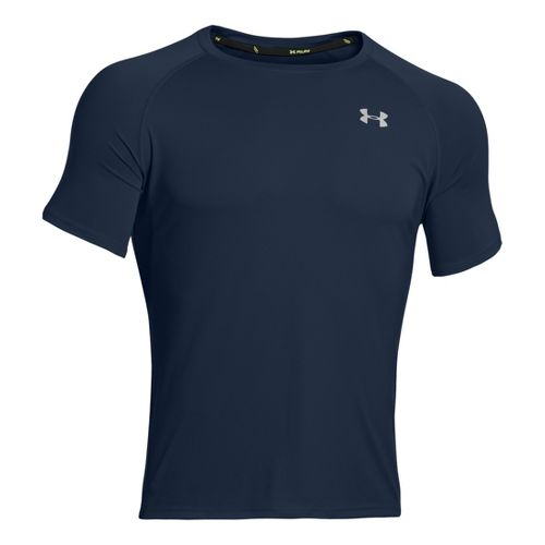 Mens Under Armour Run T Short Sleeve Technical Tops - Academy/Reflective L