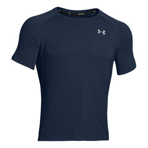 Mens Under Armour Run T Short Sleeve Technical Tops - Academy/Reflective XXL
