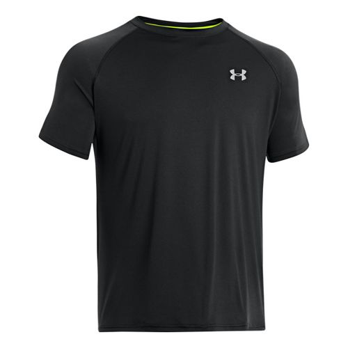 Mens Under Armour Run T Short Sleeve Technical Tops - Black/Reflective XL