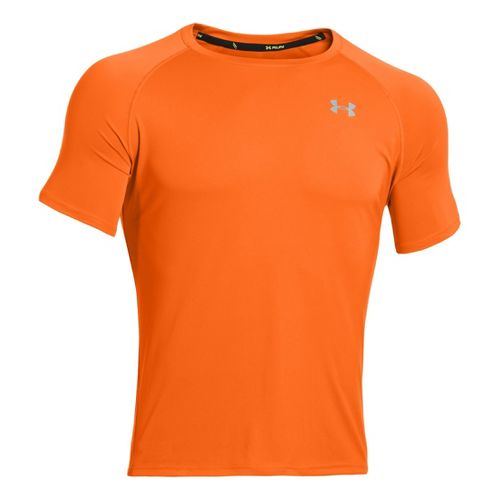 Mens Under Armour Run T Short Sleeve Technical Tops - Blaze Orange/Reflective S