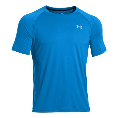 Mens Under Armour Run T Short Sleeve Technical Tops - Electric Blue/Reflective M