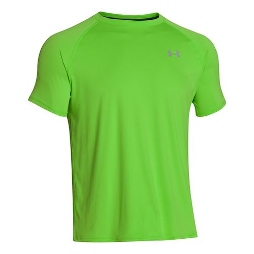 Mens Under Armour Run T Short Sleeve Technical Tops - Gecko Green/Reflective S