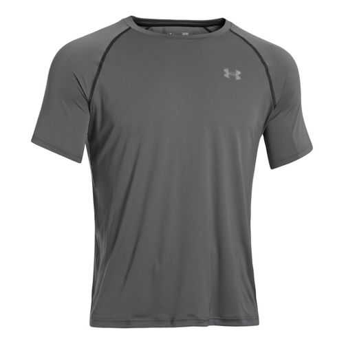 Mens Under Armour Run T Short Sleeve Technical Tops - Graphite/Reflective L