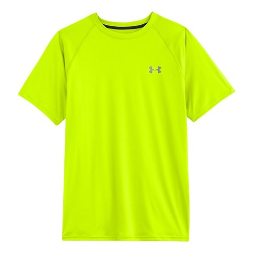 Mens Under Armour Run T Short Sleeve Technical Tops - Hi-Viz Yellow/Reflective M
