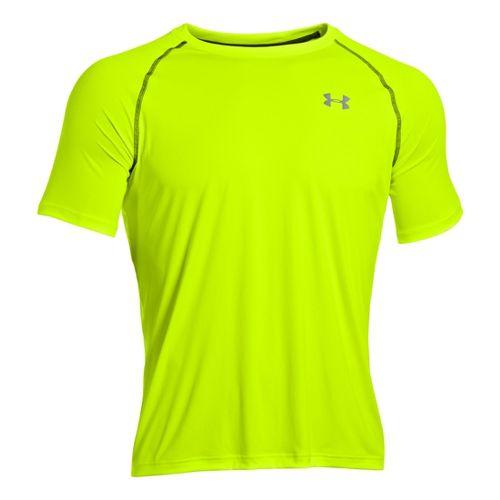 Mens Under Armour Run T Short Sleeve Technical Tops - High Vis Yellow/Reflective XL