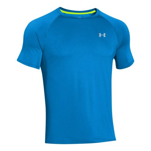 Mens Under Armour Run T Short Sleeve Technical Tops - Superior Blue/Reflective L