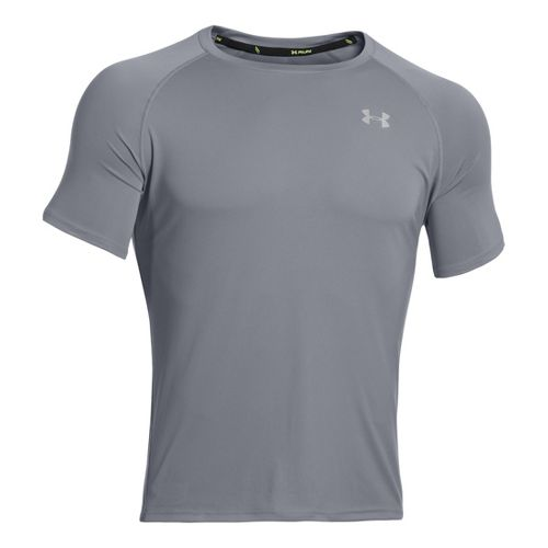 Mens Under Armour Run T Short Sleeve Technical Tops - Steel/Reflective S